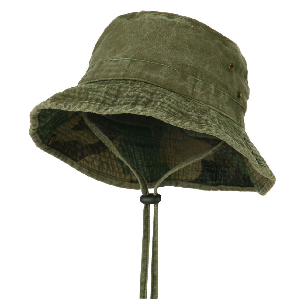 UPF 50+ Kid's Cotton Casual Boonie Hat - Olive - Hats and Caps Online Shop - Hip Head Gear