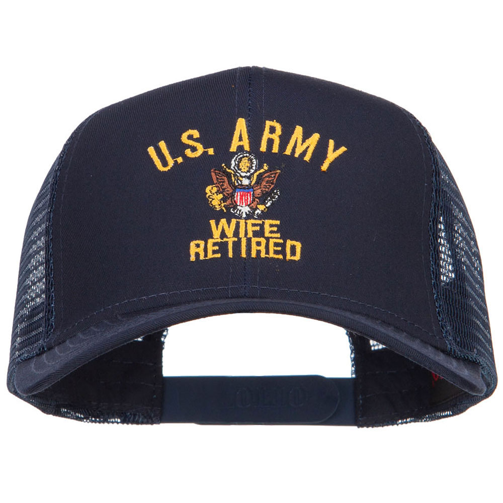 U.S. Army Wife Retired Embroidered Mesh Cap - Navy