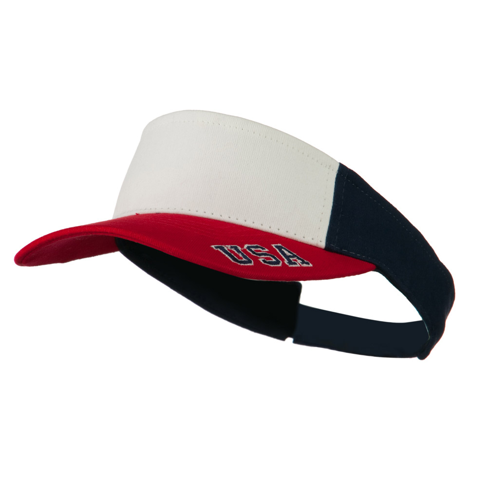 USA Sports Visor - White Red Navy - Hats and Caps Online Shop - Hip Head Gear