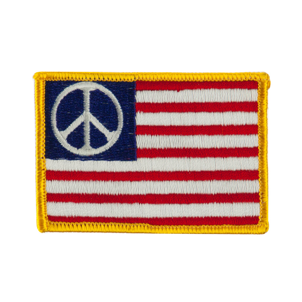 USA Flag Style Embroidered Patch - Peace
