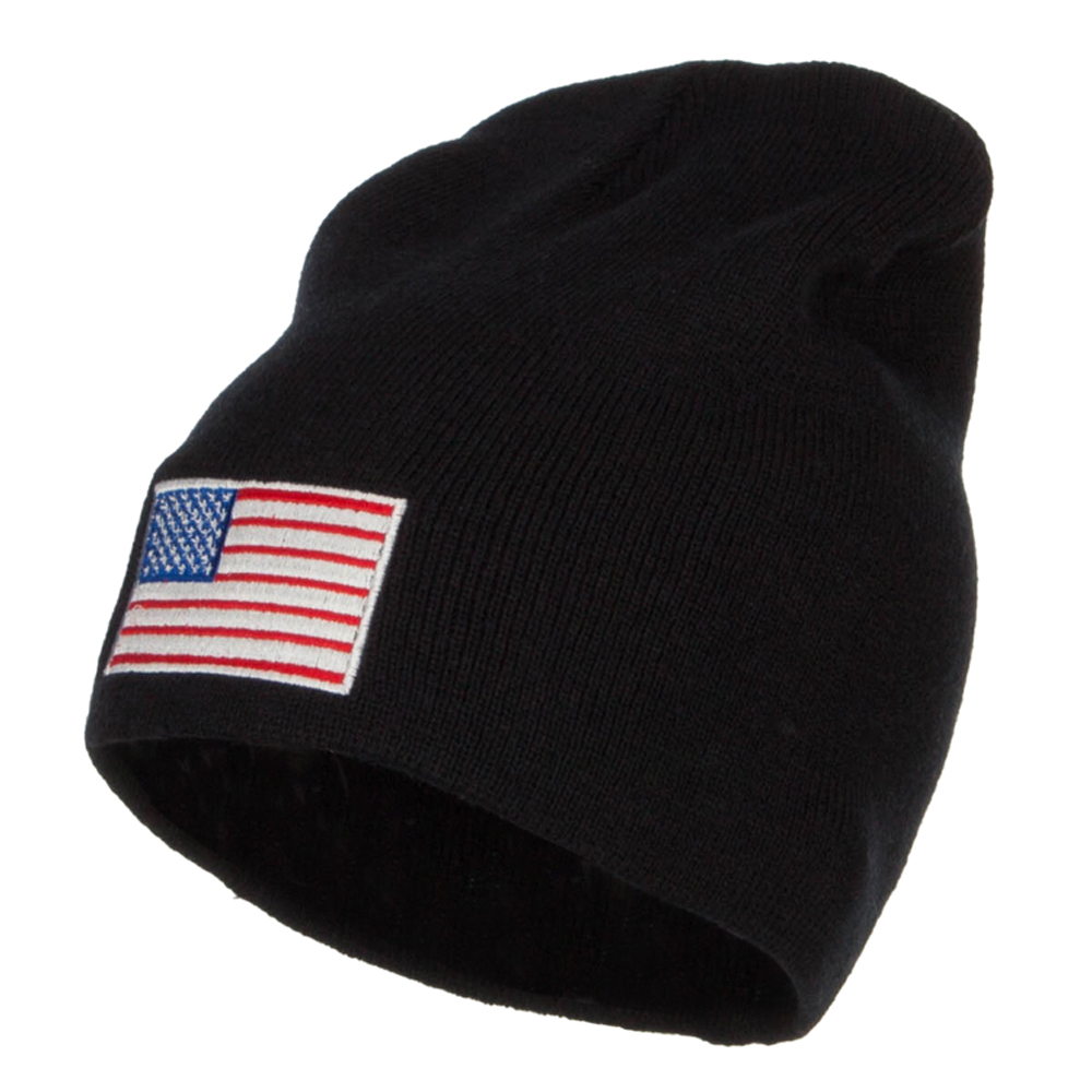 USA Flag Embroidered Big Short Beanie - Black