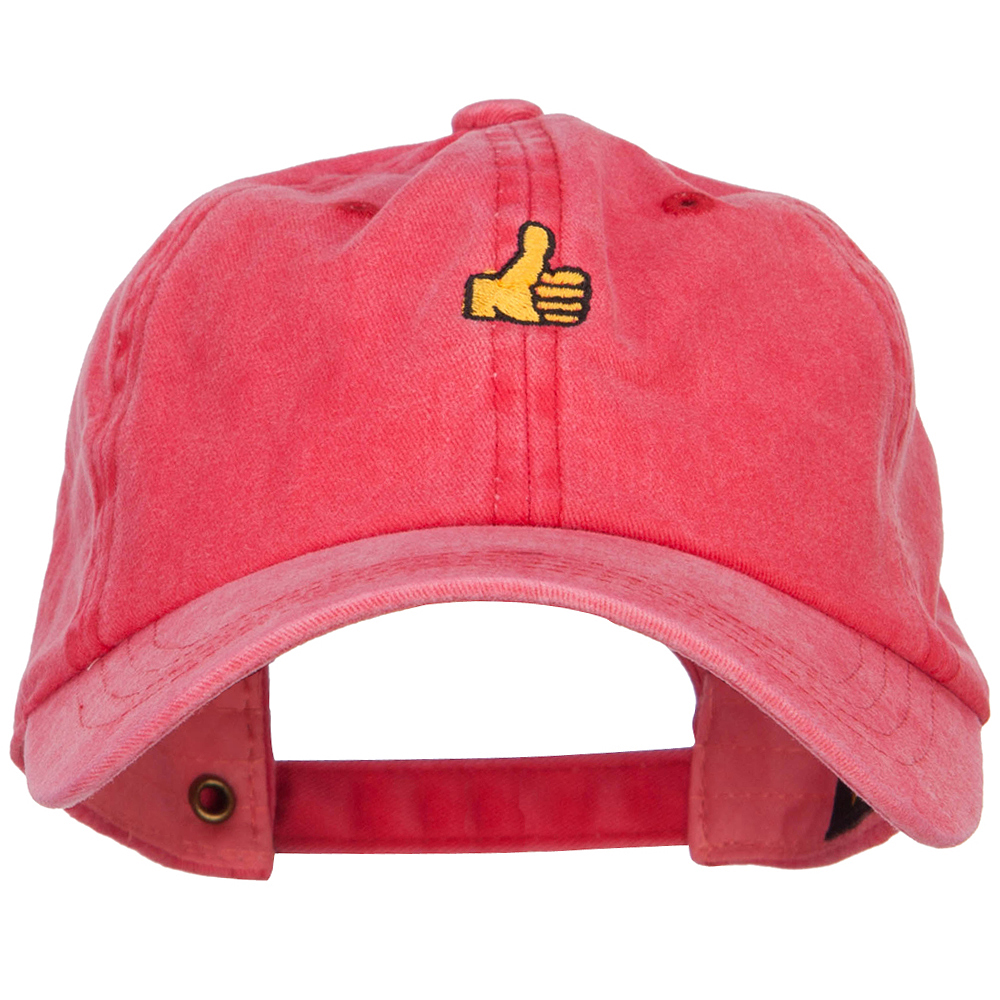 Mini Thumbs Up Embroidered Unstructured Dyed Cap - Red