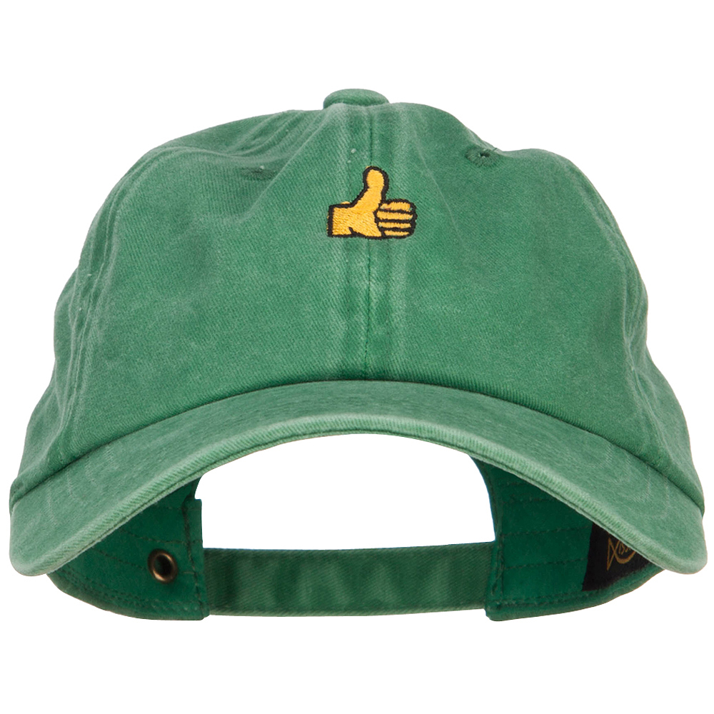 Mini Thumbs Up Embroidered Unstructured Dyed Cap - Kelly Green