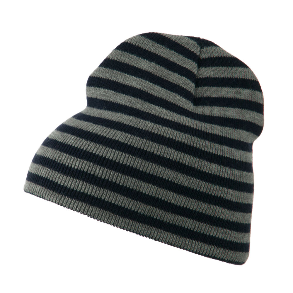 Trendy Striped Beanie - Grey Navy - Hats and Caps Online Shop - Hip Head Gear