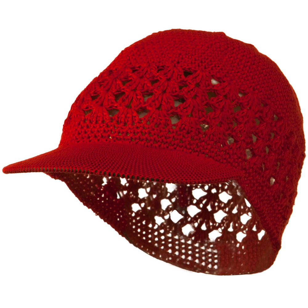 Visor Cotton Kufi Cap - Red - Hats and Caps Online Shop - Hip Head Gear