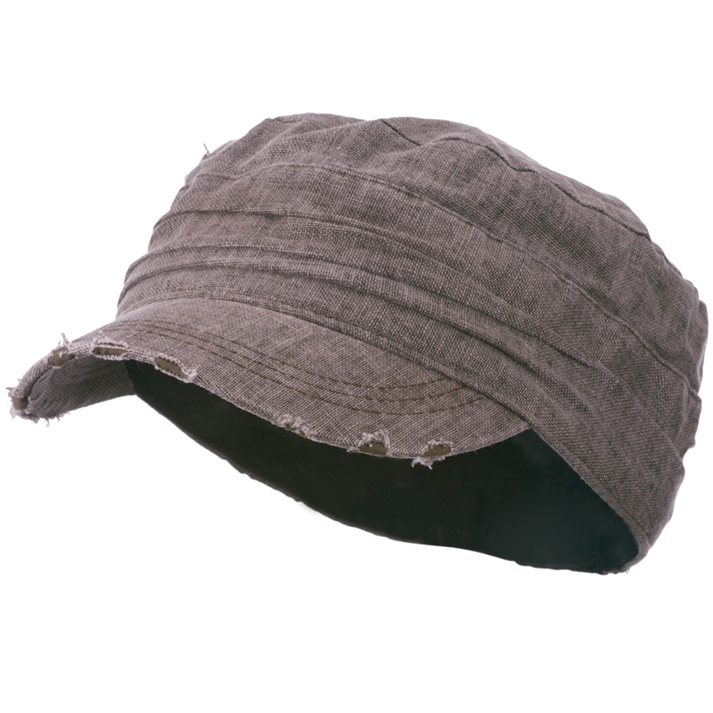 Vintage Frayed Army Cap - Brown - Hats and Caps Online Shop - Hip Head Gear