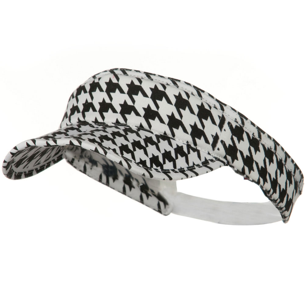 Interchangeable Faux Hair Piece Foldable Cotton Visor - Hound Tooth - Hats and Caps Online Shop - Hip Head Gear