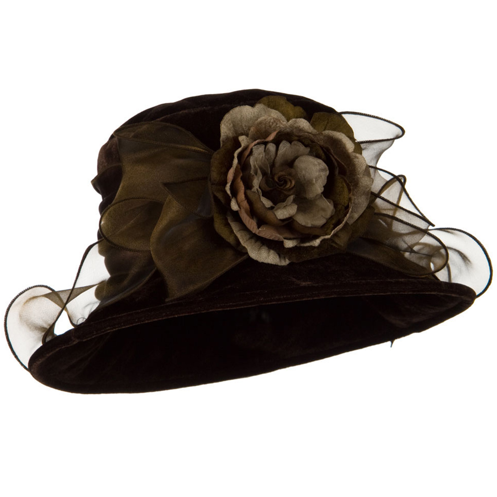 Flower Ribbon Velvet Hat - Brown - Hats and Caps Online Shop - Hip Head Gear