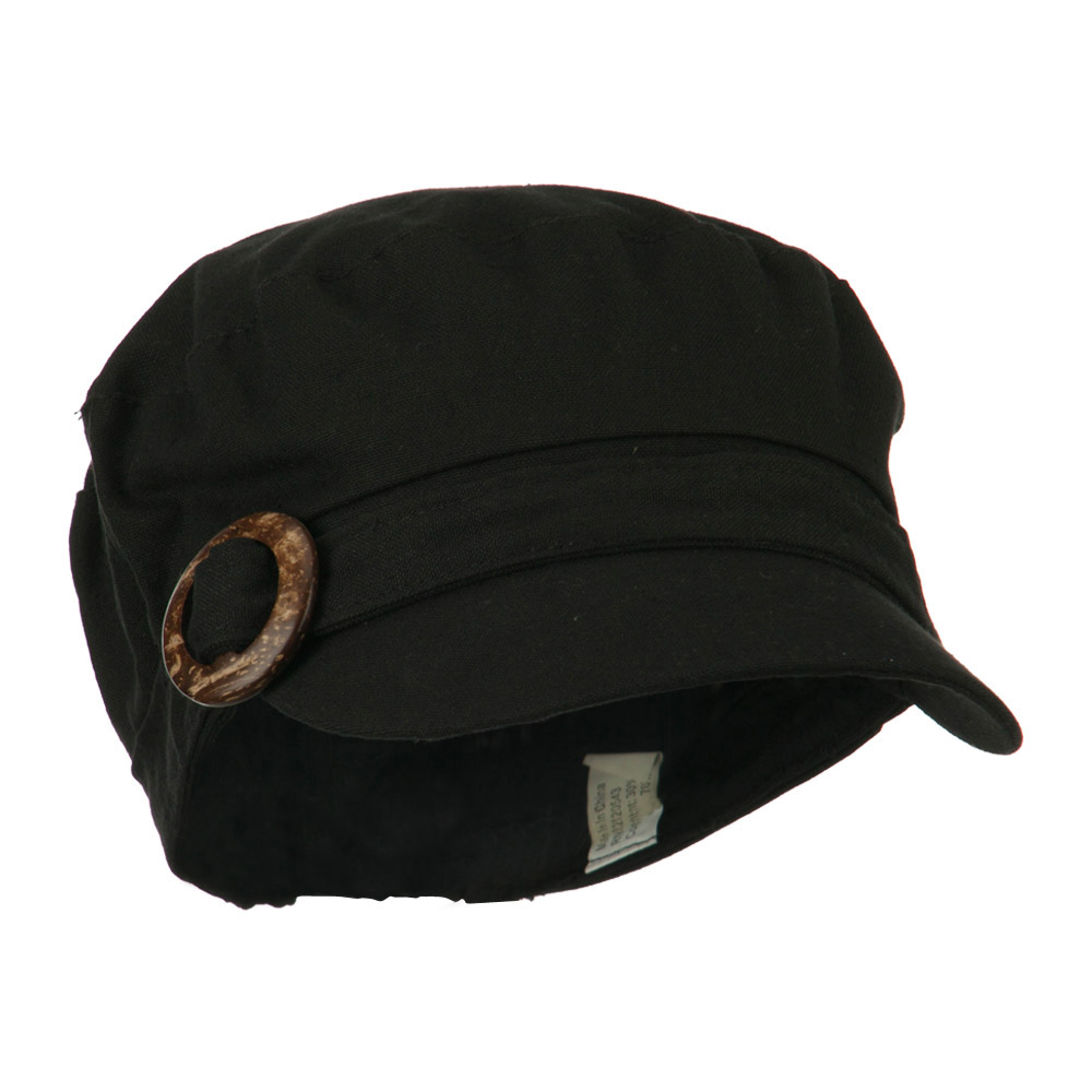 Viscose Linen Army Cap with Coconut Buckle Accent - Black - Hats and Caps Online Shop - Hip Head Gear