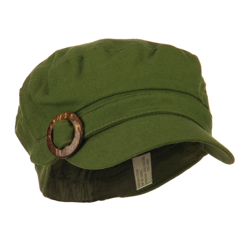 Viscose Linen Army Cap with Coconut Buckle Accent - Olive - Hats and Caps Online Shop - Hip Head Gear