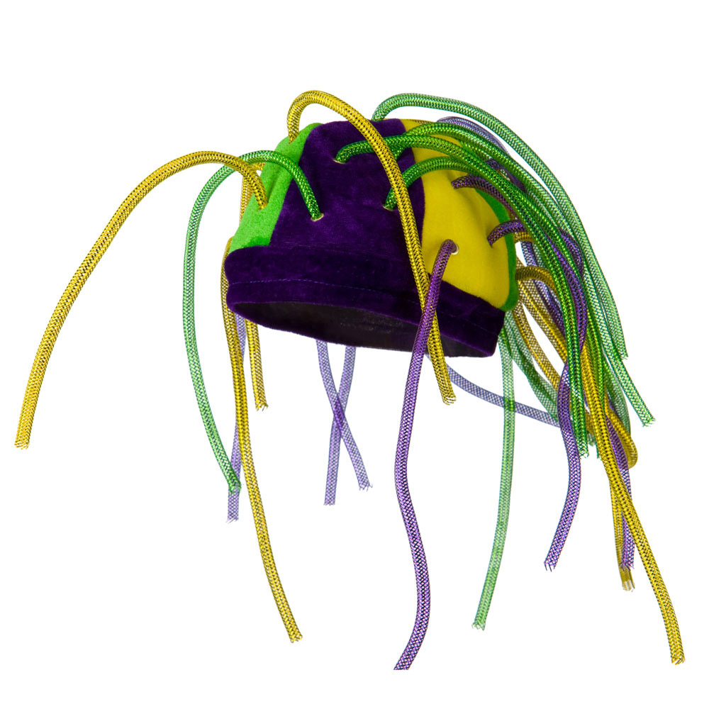 Velvet Mardi Gras Hat with Crazy Tubes - Green Purple - Hats and Caps Online Shop - Hip Head Gear