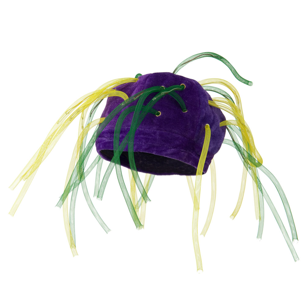 Velvet Mardi Gras Hat with Crazy Light Up Tubes - Green Yellow - Hats and Caps Online Shop - Hip Head Gear