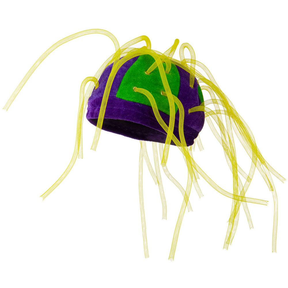 Velvet Mardi Gras Hat with Crazy Tubes - Yellow - Hats and Caps Online Shop - Hip Head Gear