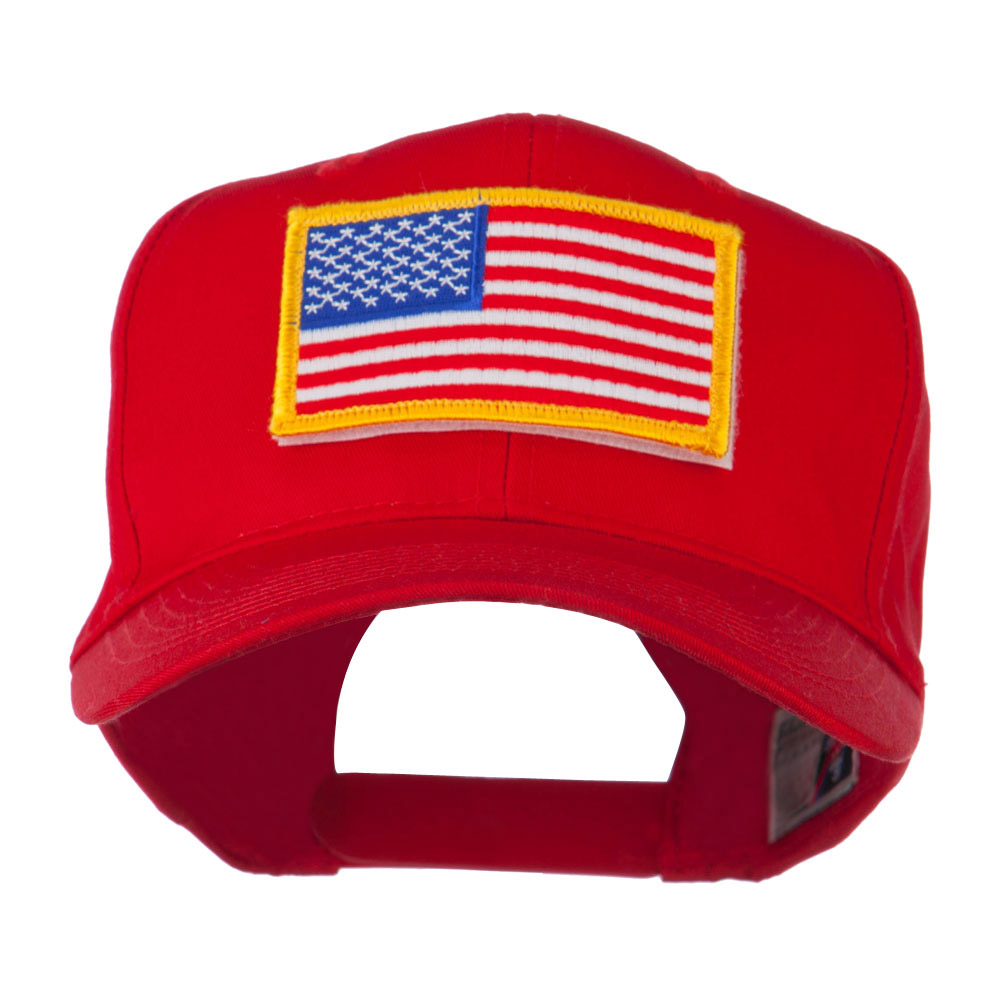 American Flag Velcrorized Patch Cap - Red - Hats and Caps Online Shop - Hip Head Gear