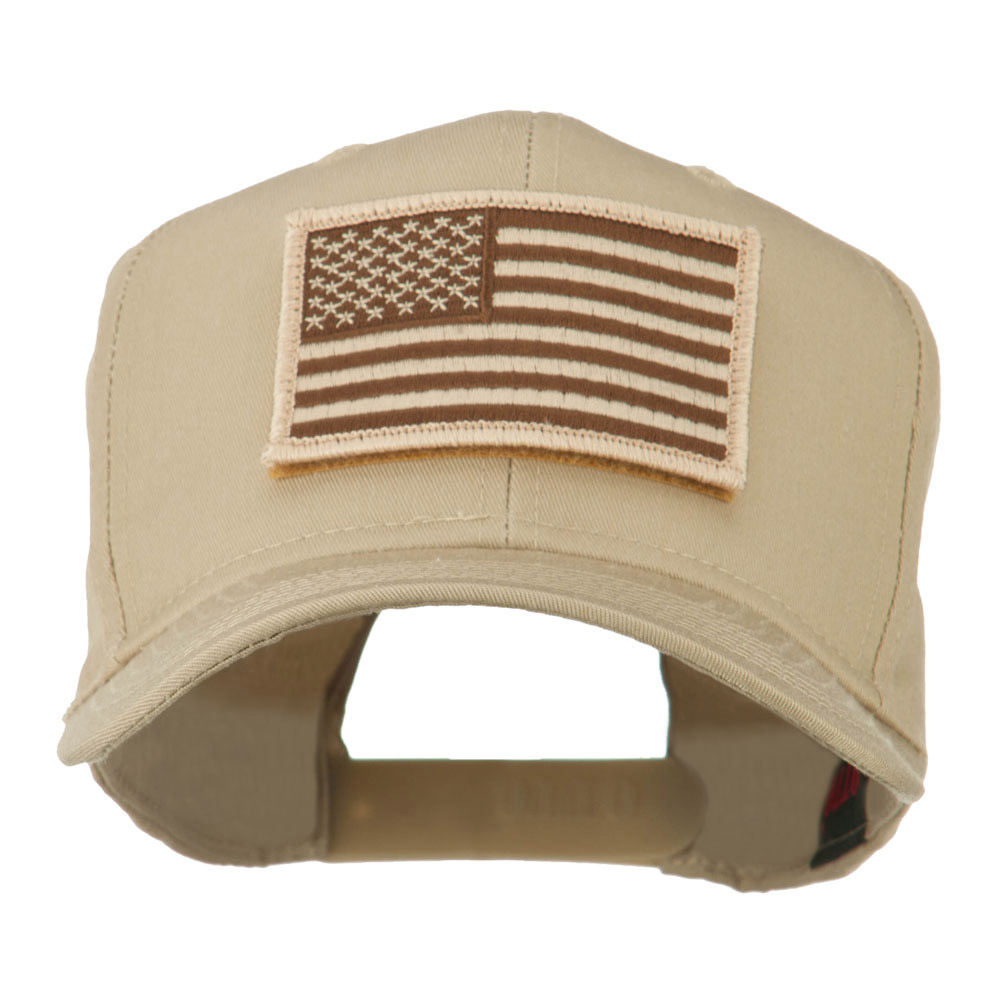American Flag Velcrorized Patch Cap - Khaki - Hats and Caps Online Shop - Hip Head Gear
