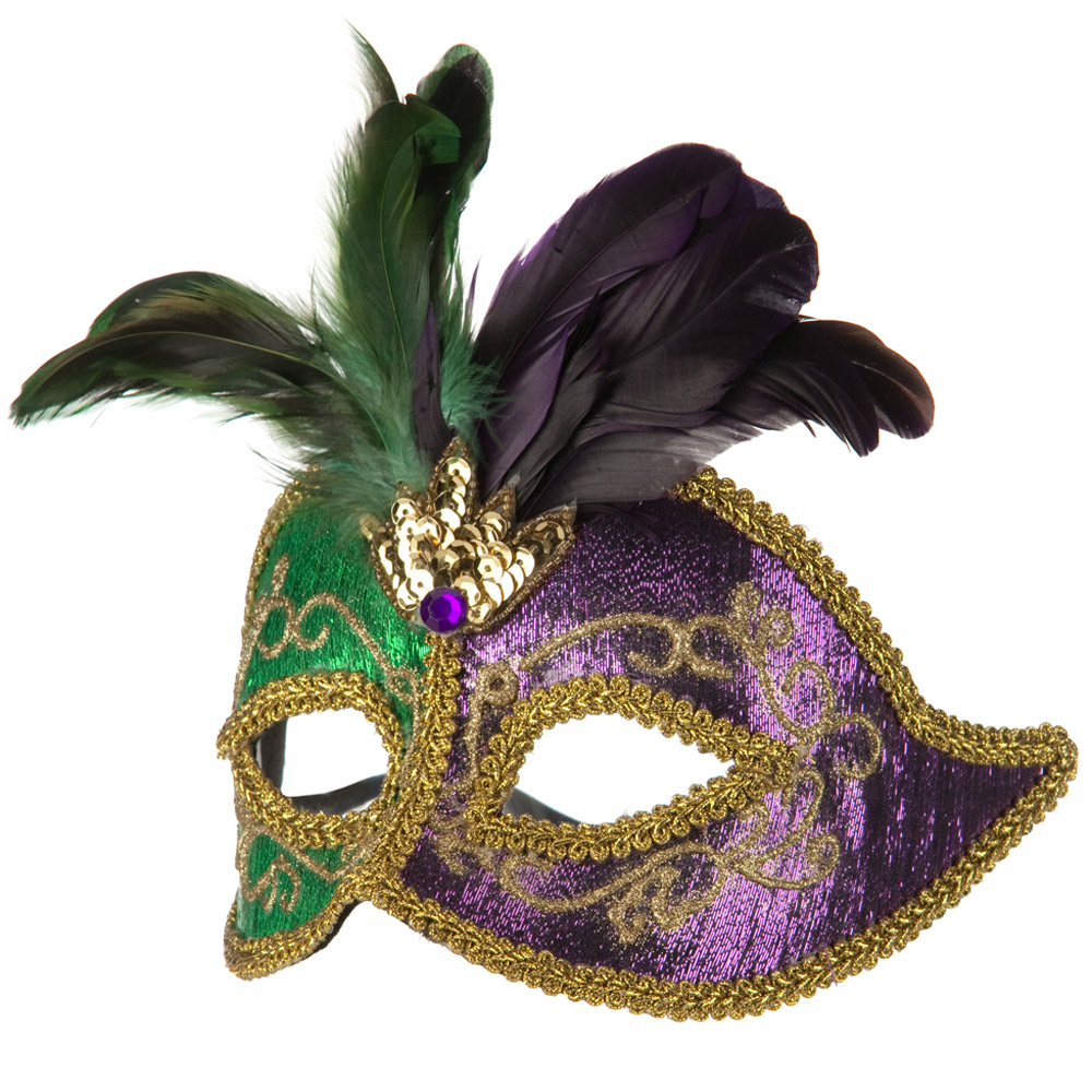 Venetian Mask with Feather - Green Purple - Hats and Caps Online Shop - Hip Head Gear
