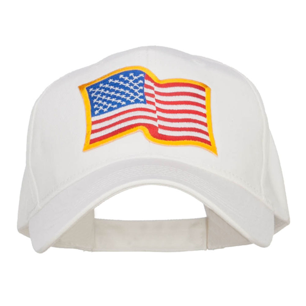 Wavy US American Flag Patched Cotton Cap - White