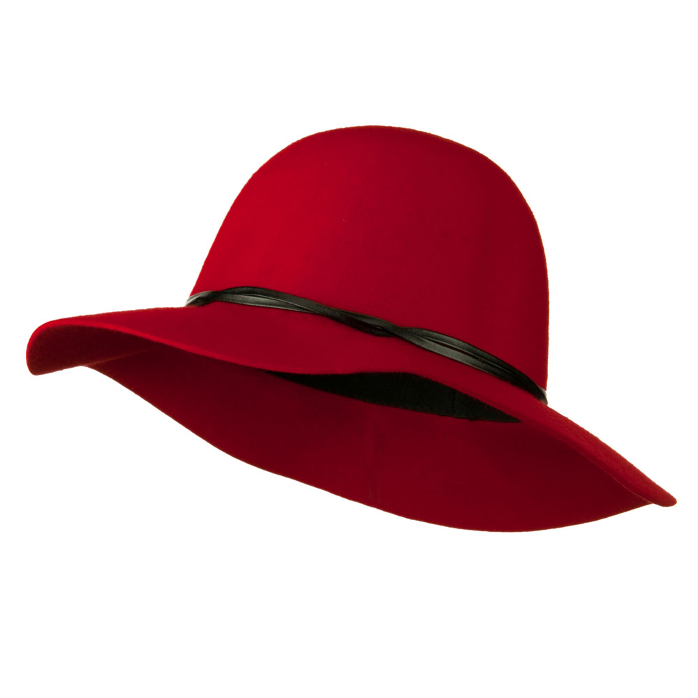 Women's 3 Inch Wide Brim Wool Felt Hat - Red - Hats and Caps Online Shop - Hip Head Gear