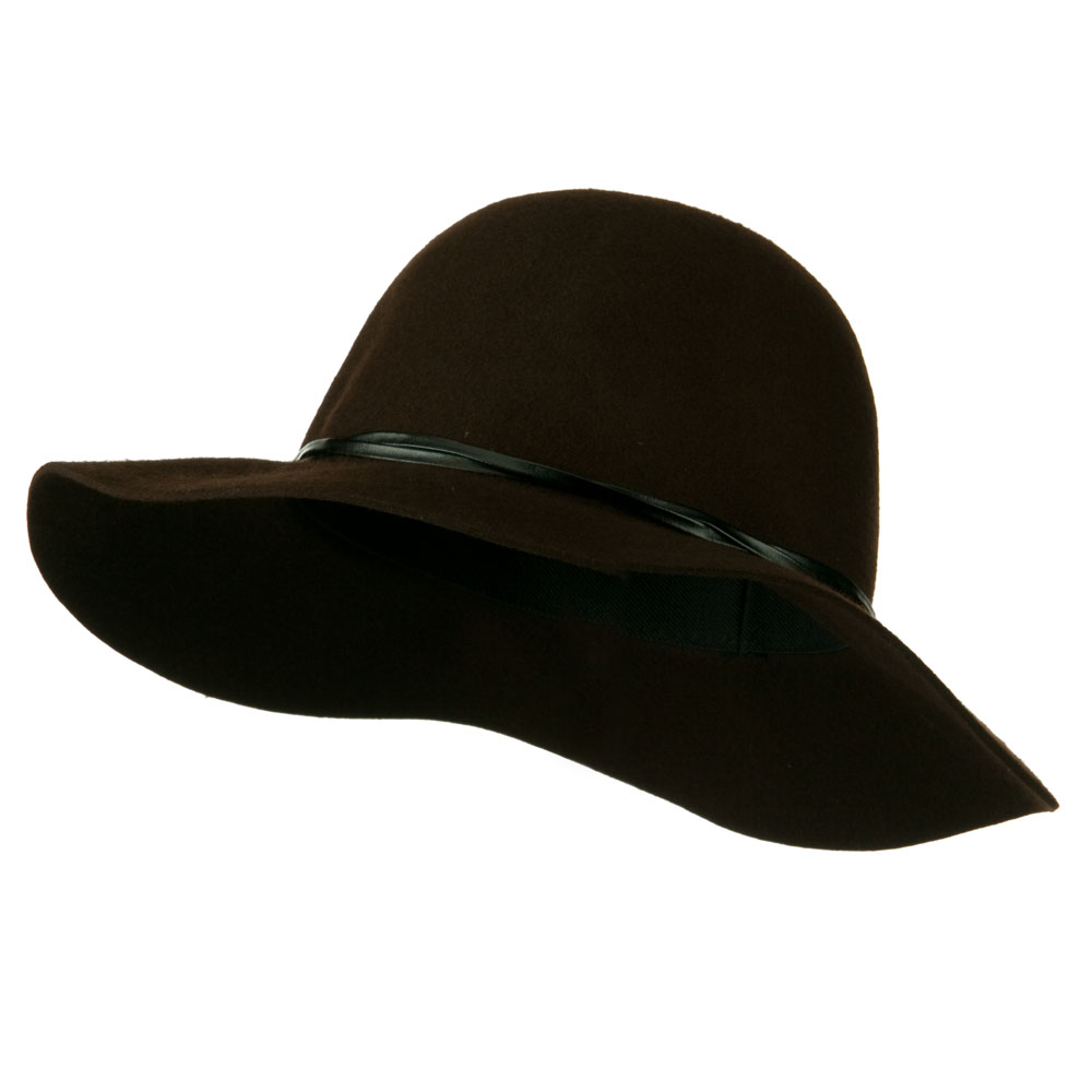 Women's 3 Inch Wide Brim Wool Felt Hat - Brown - Hats and Caps Online Shop - Hip Head Gear