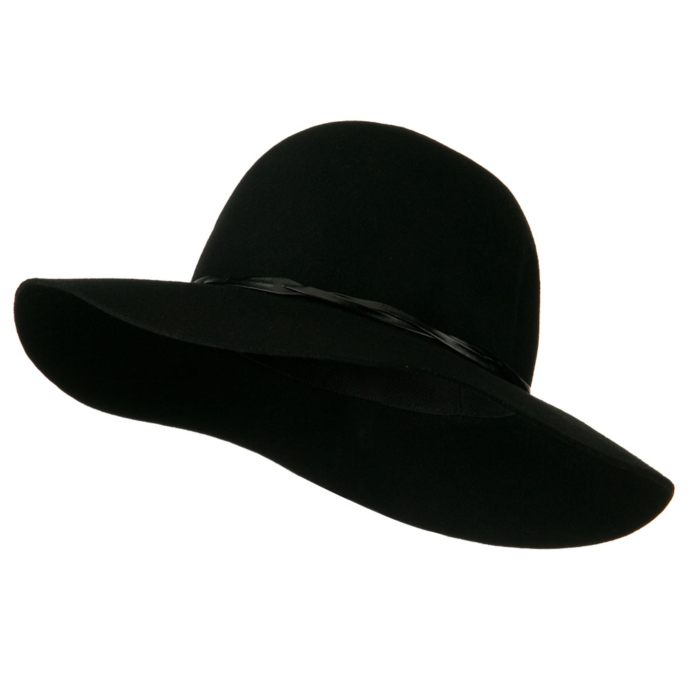 Women's 3 Inch Wide Brim Wool Felt Hat - Black - Hats and Caps Online Shop - Hip Head Gear