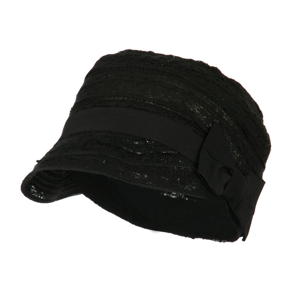 Woman's Army Cadet Fitted Laced Cap with Grosgrain Ribbon - Black - Hats and Caps Online Shop - Hip Head Gear