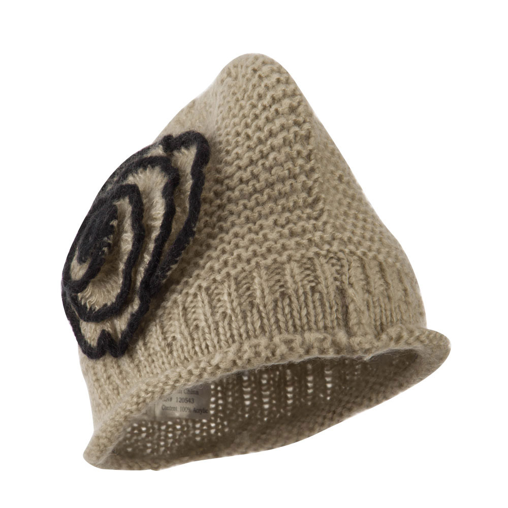 Women's Acrylic Knit Beanie with Spiral Flower - Beige - Hats and Caps Online Shop - Hip Head Gear