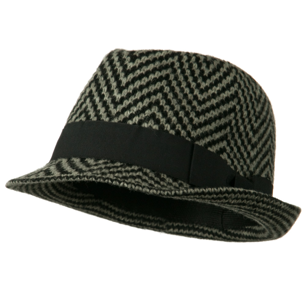 Wool Blend with Angora Fedora Hat - Black Grey - Hats and Caps Online Shop - Hip Head Gear