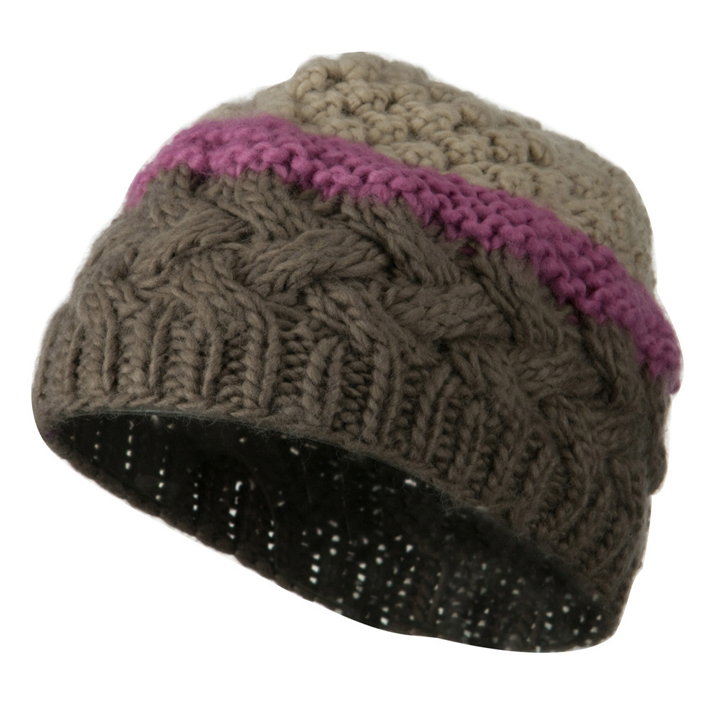 Woman's Knit Acrylic 3 Color Beanie - Brown Mix - Hats and Caps Online Shop - Hip Head Gear