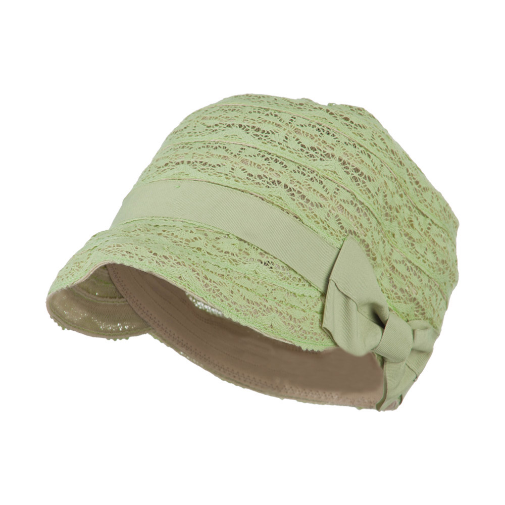 Woman's Army Cadet Fitted Laced Cap with Grosgrain Ribbon - Green - Hats and Caps Online Shop - Hip Head Gear