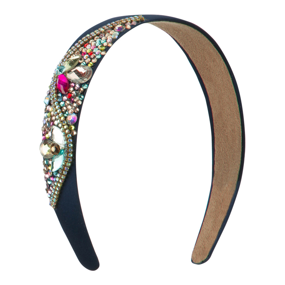 Multi Color Rhinestone Wave Line Headband - Navy - Hats and Caps Online Shop - Hip Head Gear