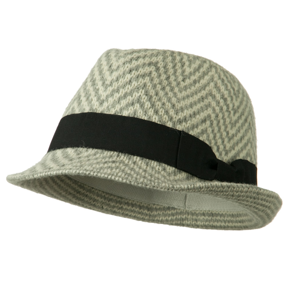 Wool Blend with Angora Fedora Hat - Grey Cream - Hats and Caps Online Shop - Hip Head Gear