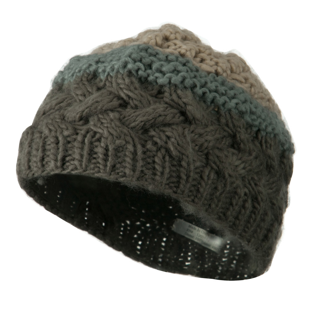 Woman's Knit Acrylic 3 Color Beanie - Grey Mix - Hats and Caps Online Shop - Hip Head Gear