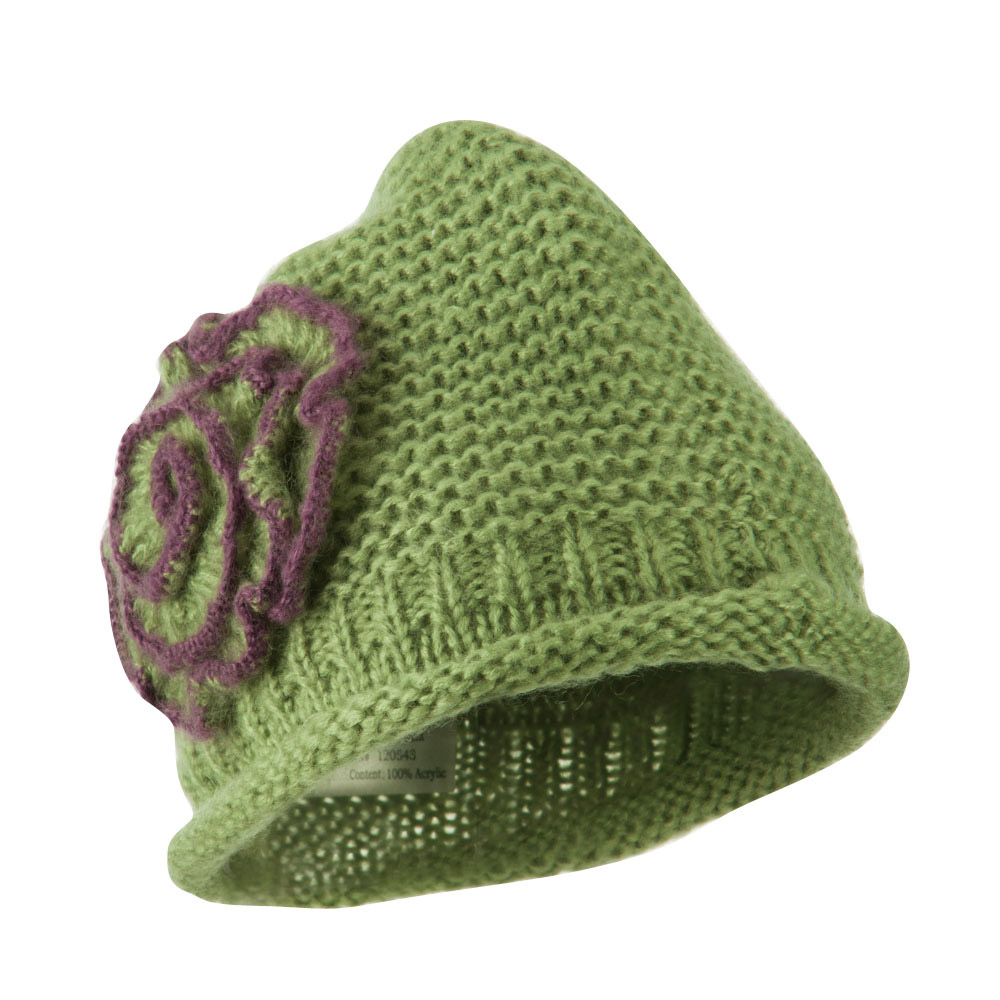 Women's Acrylic Knit Beanie with Spiral Flower - Olive - Hats and Caps Online Shop - Hip Head Gear