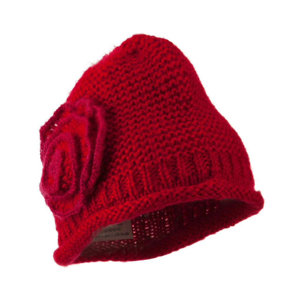 Women's Acrylic Knit Beanie with Spiral Flower - Red - Hats and Caps Online Shop - Hip Head Gear