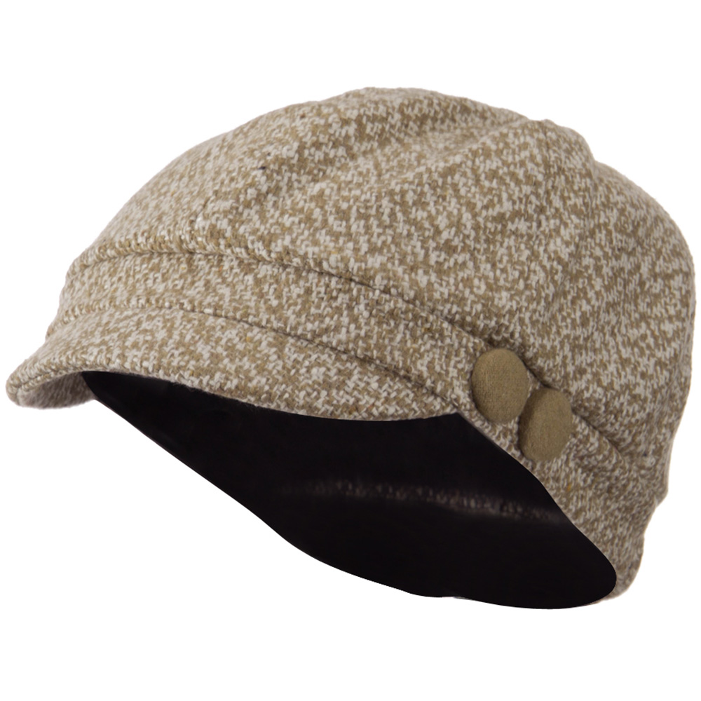Gaby Wool Button Top Cabbie Cap - Beige White - Hats and Caps Online Shop - Hip Head Gear