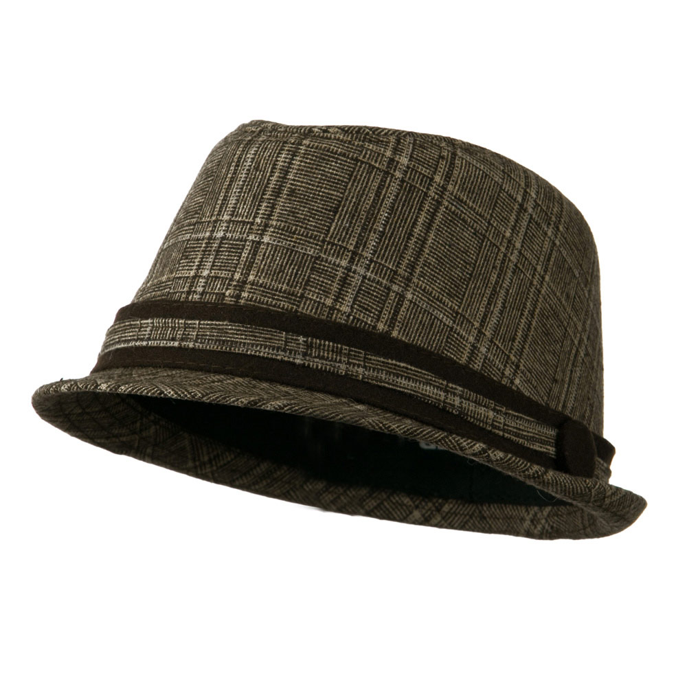 Women's Brown Plaid Fedora - Brown Plaid - Hats and Caps Online Shop - Hip Head Gear