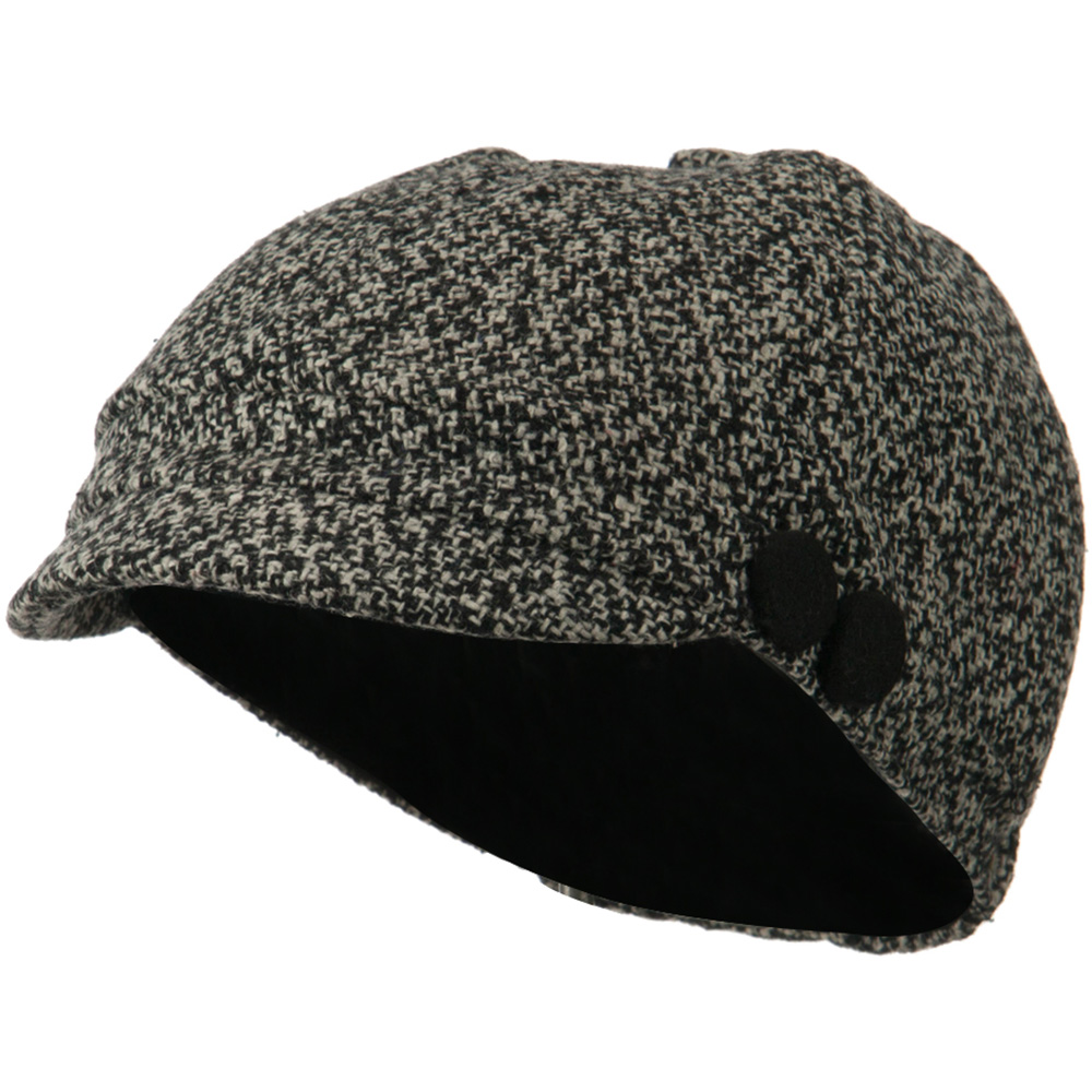 Gaby Wool Button Top Cabbie Cap - Black White - Hats and Caps Online Shop - Hip Head Gear