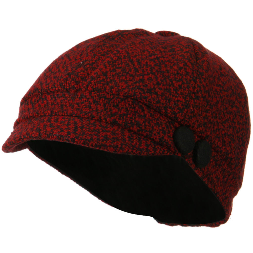 Gaby Wool Button Top Cabbie Cap - Red Black - Hats and Caps Online Shop - Hip Head Gear