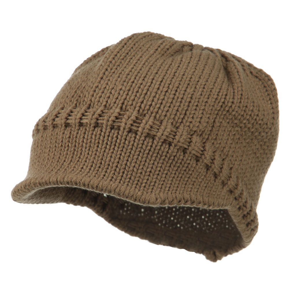 Woman's Knit Soft Beanie Visor - Brown