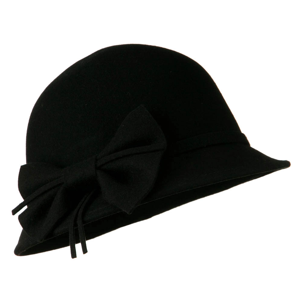 Wool Felt Cloche Hat with Bow - Black - Hats and Caps Online Shop - Hip Head Gear