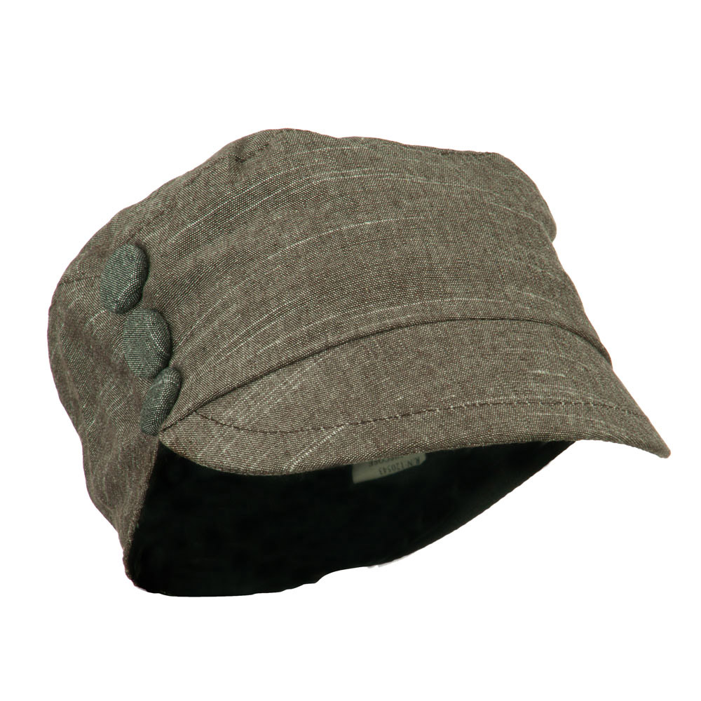 Women's Cotton Viscose Military Cabbie Cap with Button Detail - Brown - Hats and Caps Online Shop - Hip Head Gear