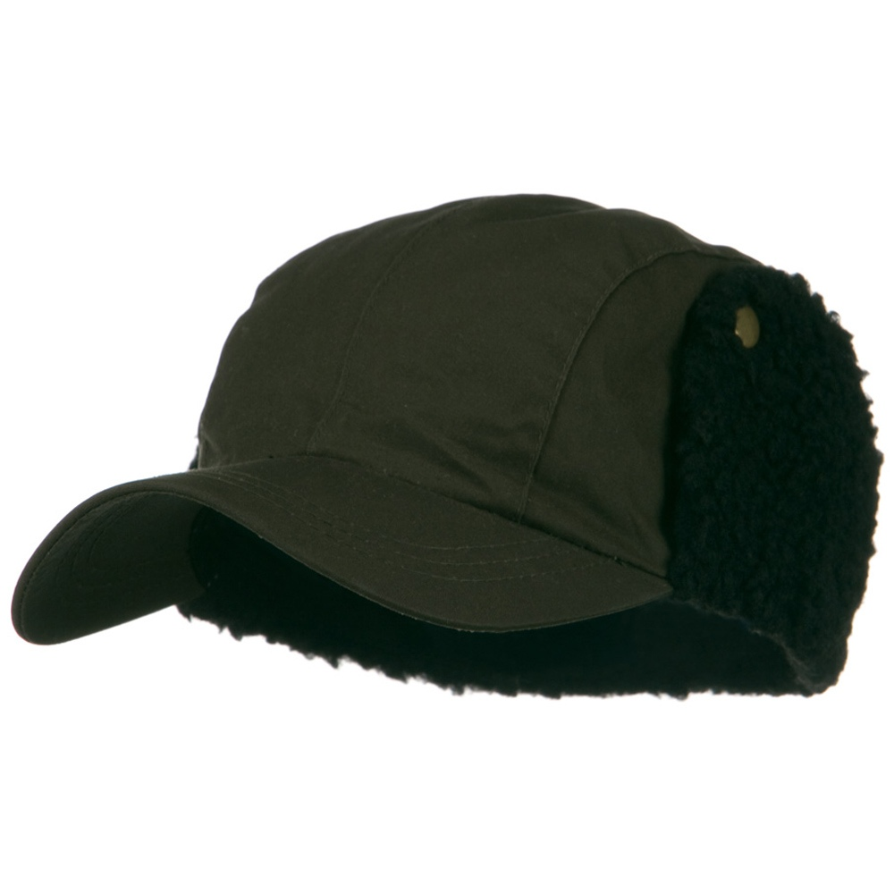 Waxed Cotton Canvas Trapper Cap - Olive - Hats and Caps Online Shop - Hip Head Gear