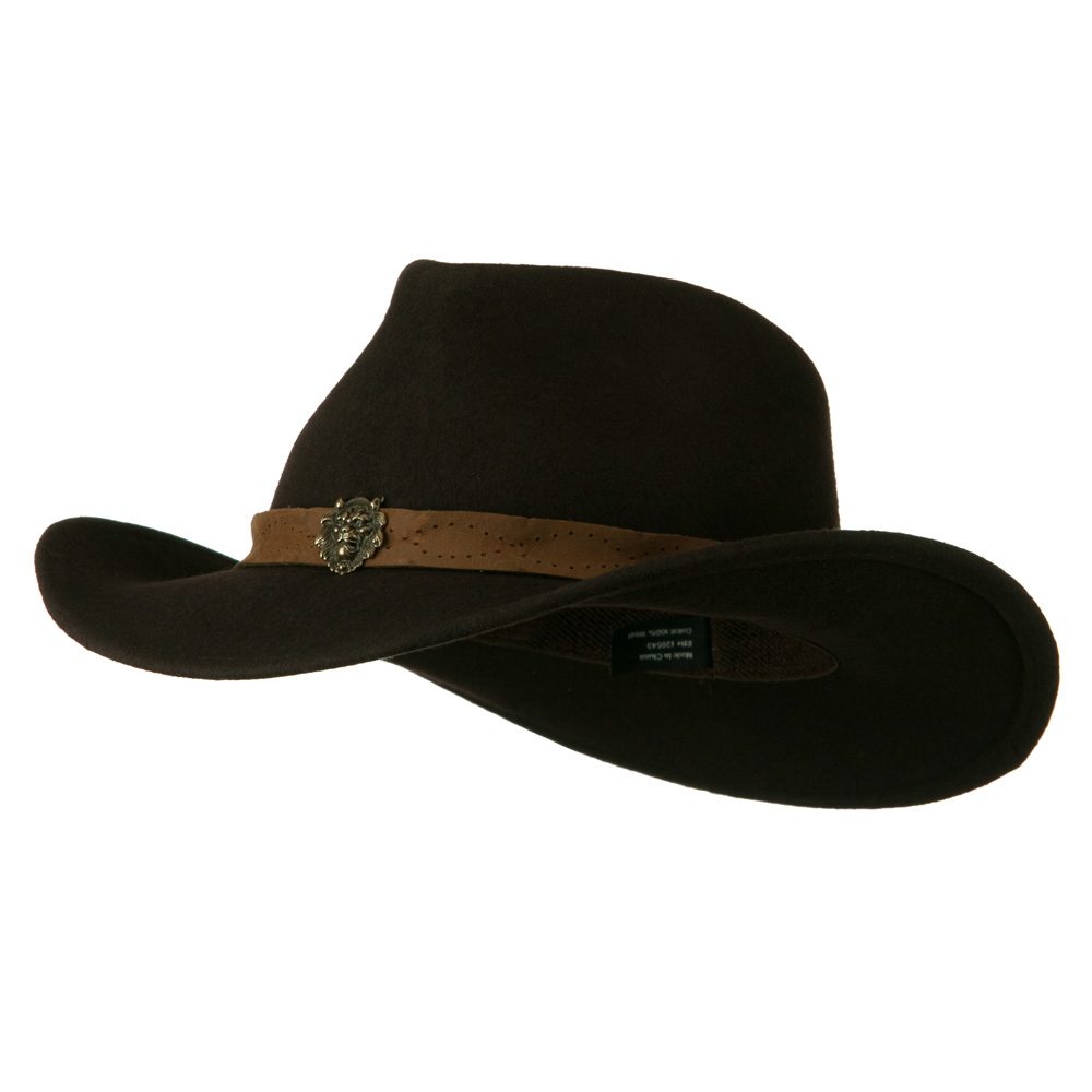 Wool Felt Cowboy Hat with Distressed Leather Band - Dark Brown - Hats and Caps Online Shop - Hip Head Gear