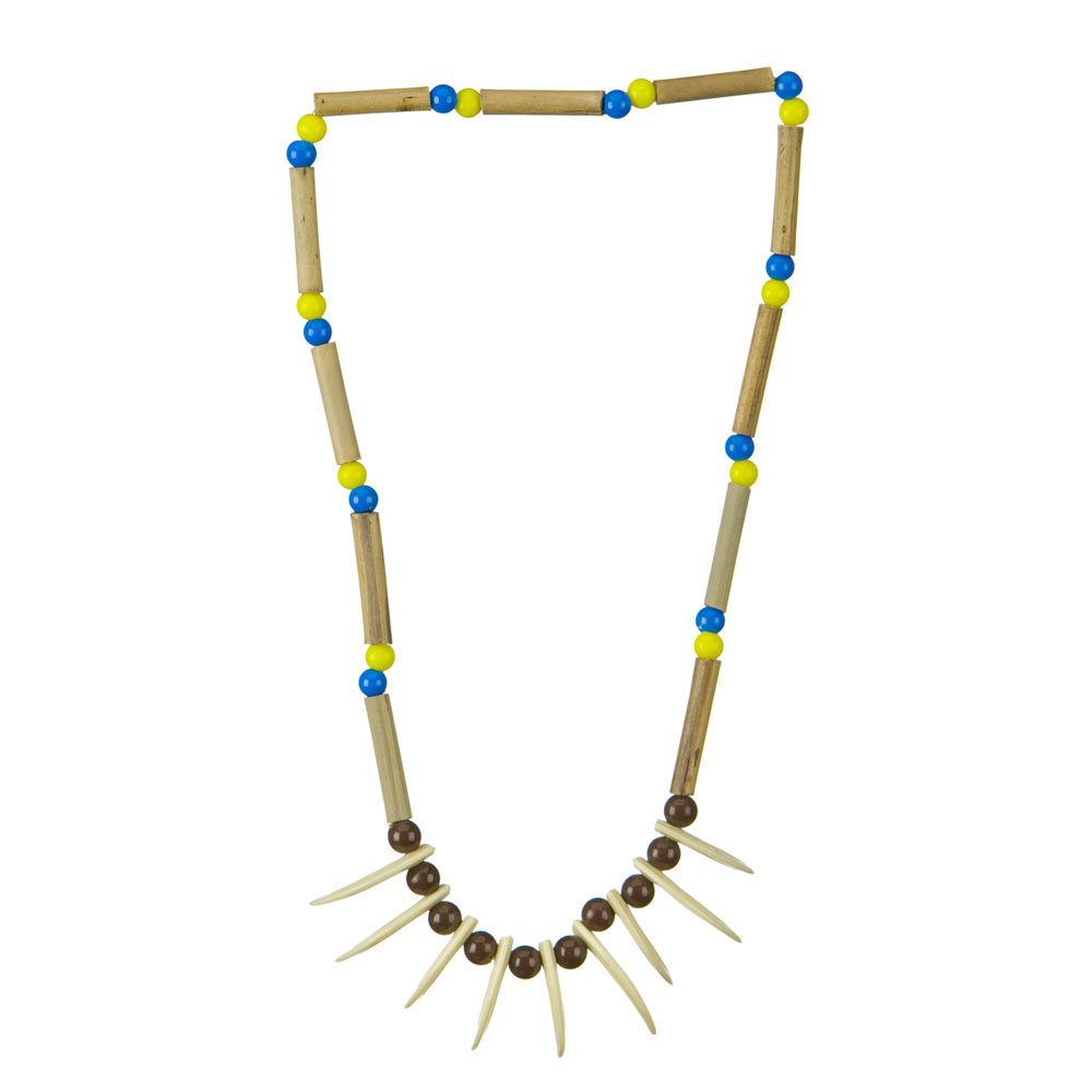 Indian Wood Necklace - Wood Blue Yellow