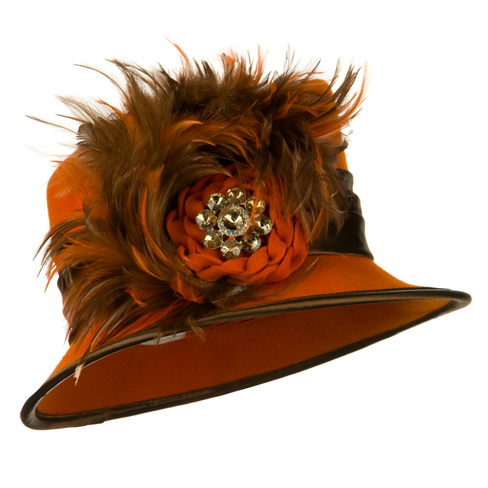 Wool Felt Dress Hat with Stone and Feather Ribbon - Orange Brown - Hats and Caps Online Shop - Hip Head Gear