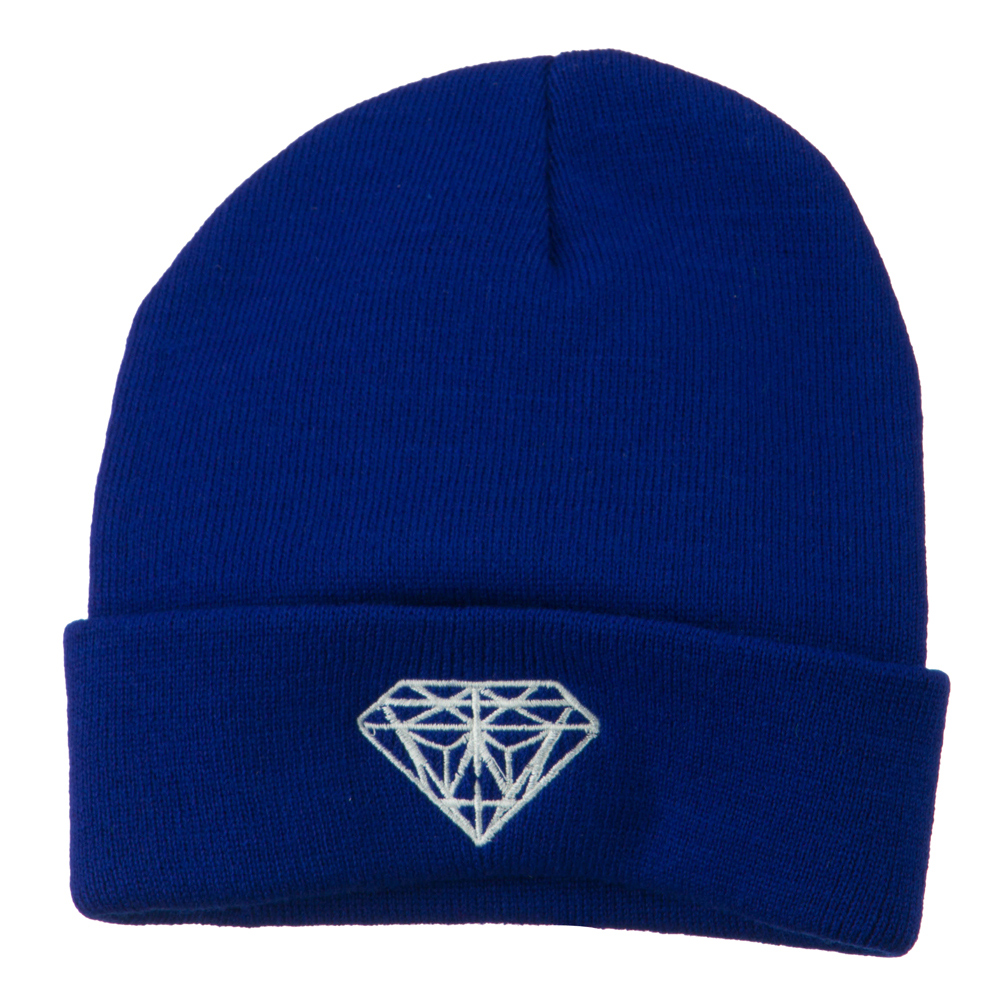 White Diamond Embroidered Long Cuff Beanie - Royal