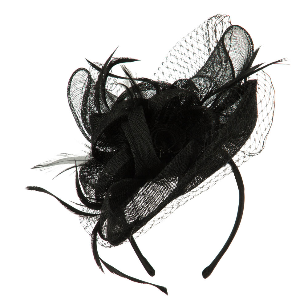 Flowers Accent Netting Clip On Fascinator - Black - Hats and Caps Online Shop - Hip Head Gear