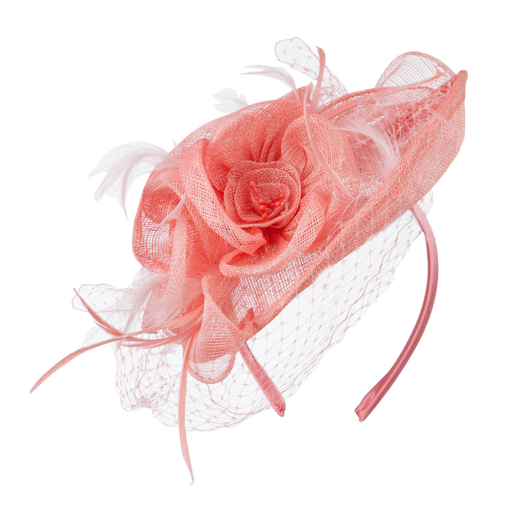 Flowers Accent Netting Clip On Fascinator - Pink - Hats and Caps Online Shop - Hip Head Gear