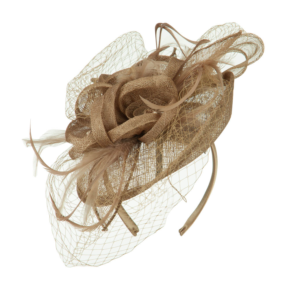 Flowers Accent Netting Clip On Fascinator - Taupe - Hats and Caps Online Shop - Hip Head Gear