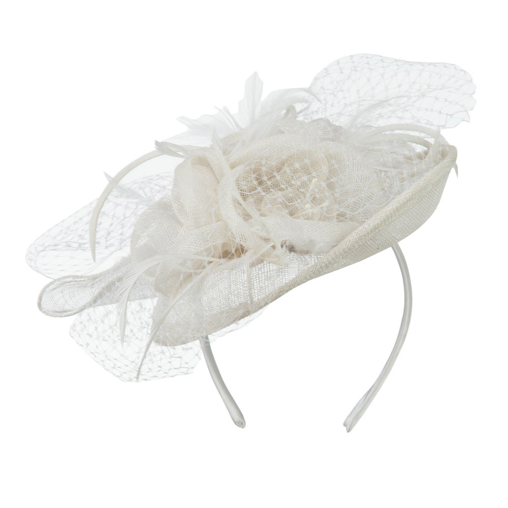 Flowers Accent Netting Clip On Fascinator - White - Hats and Caps Online Shop - Hip Head Gear